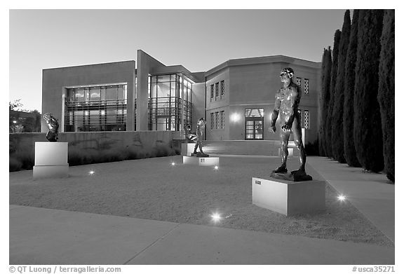 Rodin sculpture garden and Cantor Art Center, dusk. Stanford University, California, USA (black and white)