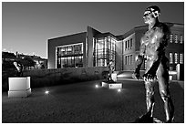 Rodin sculptures and Cantor Art Museum at night. Stanford University, California, USA ( black and white)