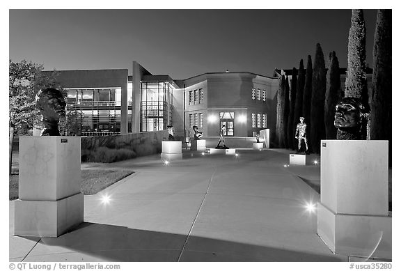 Cantor Art Center at night with Rodin sculpture garden. Stanford University, California, USA (black and white)