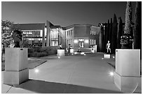 Cantor Art Center at night with Rodin sculpture garden. Stanford University, California, USA ( black and white)