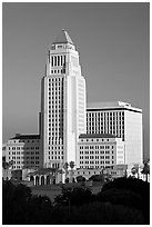 Los Angeles City Hall in Art Deco style. Los Angeles, California, USA (black and white)