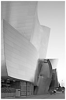 Frank Gehry desined Walt Disney Concert Hall exterior. Los Angeles, California, USA (black and white)