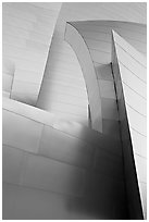 Shiny steel surfaces of the new Walt Disney Concert Hall. Los Angeles, California, USA ( black and white)