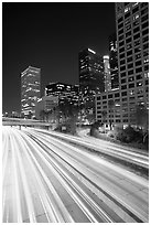 Harbor Freeway and skyline at nightfall. Los Angeles, California, USA (black and white)
