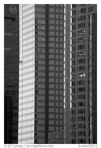 Detail of glass high-rise buildings facades. Los Angeles, California, USA (black and white)