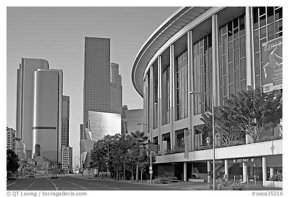 Music Center and high rise towers. Los Angeles, California, USA (black and white)
