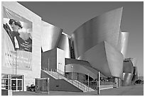 LA Philarmonic sign and concert hall, early morning. Los Angeles, California, USA ( black and white)