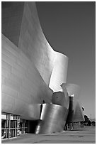 Free-form sculptural curves of the Walt Disney Concert Hall, early morning. Los Angeles, California, USA (black and white)