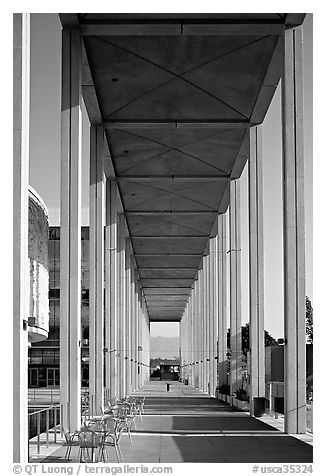Gallery in the Music Center. Los Angeles, California, USA (black and white)