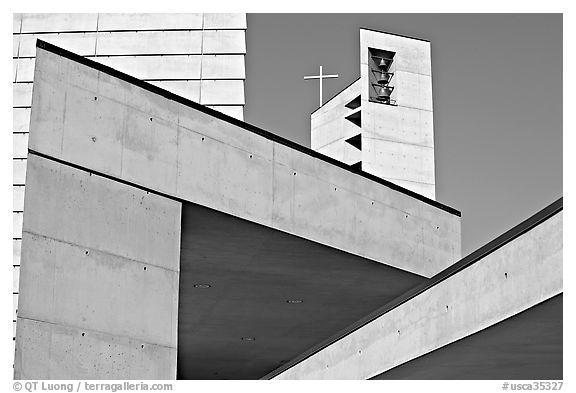 Angular shapes of Cathedral of our Lady of the Angels. Los Angeles, California, USA (black and white)