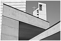 Angular shapes of Cathedral of our Lady of the Angels. Los Angeles, California, USA ( black and white)