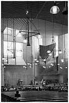 Interior of the Cathedral of our Lady of the Angels, designed by Jose Rafael Moneo. Los Angeles, California, USA (black and white)