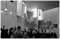 Interior of the Cathedral of our Lady of the Angels during Sunday service. Los Angeles, California, USA (black and white)