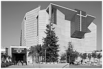 Ochre mantle of Cathedral of our Lady of the Angels. Los Angeles, California, USA ( black and white)