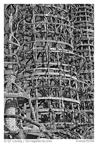 Detail, Watts towers. Watts, Los Angeles, California, USA (black and white)