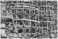 Detail, Watts towers, a masterpiece of folk art. Watts, Los Angeles, California, USA ( black and white)