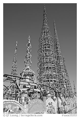 Overview of the Watts Towers. Watts, Los Angeles, California, USA (black and white)