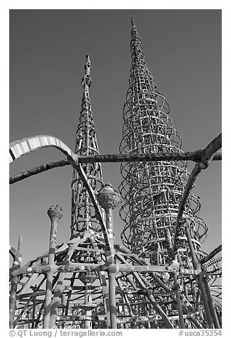 Whimsical Watts Towers. Watts, Los Angeles, California, USA (black and white)