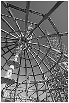 Gazebo and tower, Watts Towers. Watts, Los Angeles, California, USA (black and white)