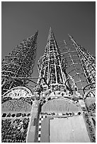 Wall and Towers, Watts Towers. Watts, Los Angeles, California, USA ( black and white)