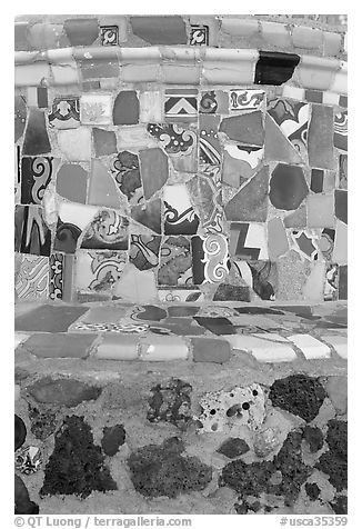Close-up of found objects used to decorate the Watts Towers. Watts, Los Angeles, California, USA (black and white)