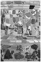 Close-up showing found objects used to decorate the Watts Towers. Watts, Los Angeles, California, USA (black and white)
