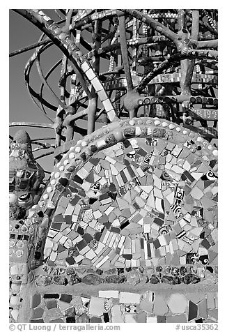 Moscaic and tower, Watts Towers. Watts, Los Angeles, California, USA (black and white)