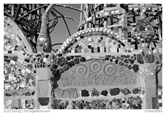 Detail of Watts Towers, built over the course of 33 years by Simon Rodia. Watts, Los Angeles, California, USA (black and white)