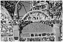 Detail of Watts Towers, built over the course of 33 years by Simon Rodia. Watts, Los Angeles, California, USA ( black and white)