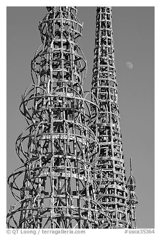 Watts towers and moon. Watts, Los Angeles, California, USA (black and white)
