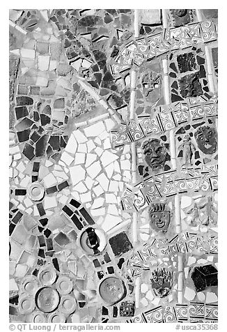 Mosaic Detail, Watts Towers Art Center. Watts, Los Angeles, California, USA (black and white)