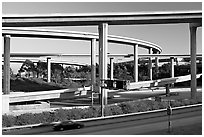 Highway interchange, Watts. Watts, Los Angeles, California, USA (black and white)