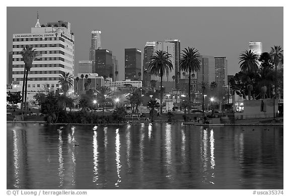 Mc Arthur Park and skyline, dusk. Los Angeles, California, USA (black and white)
