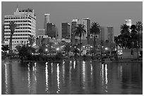 Mc Arthur Park and skyline, dusk. Los Angeles, California, USA ( black and white)