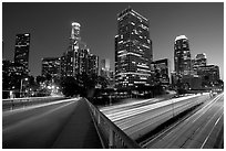 Bridge, Harbor Freeway, and skyline at nightfall. Los Angeles, California, USA (black and white)