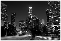 Traffic lights and skyline at night. Los Angeles, California, USA ( black and white)