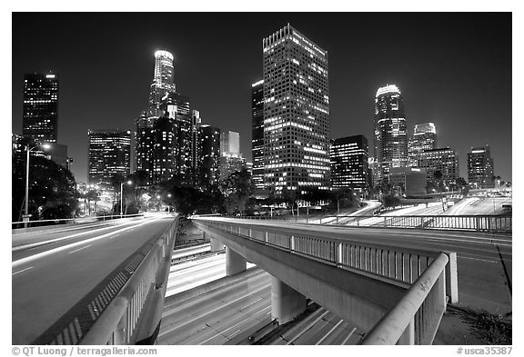 Bridge, Harbor Freeway, and skyline at night. Los Angeles, California, USA (black and white)