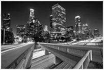 Bridge, Harbor Freeway, and skyline at night. Los Angeles, California, USA ( black and white)