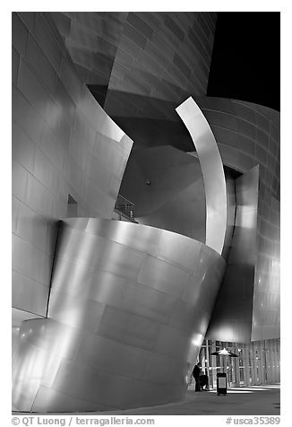Walt Disney Concert Hall at night. Los Angeles, California, USA (black and white)