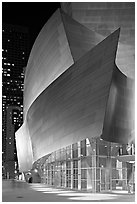Walt Disney Concert Hall at night. Los Angeles, California, USA ( black and white)