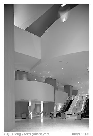 Walt Disney Concert Hall lobby. Los Angeles, California, USA (black and white)