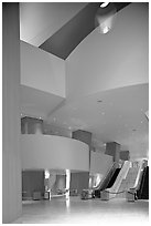 Walt Disney Concert Hall lobby. Los Angeles, California, USA ( black and white)