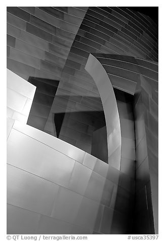 Steel curves of the Walt Disney Concert Hall at night. Los Angeles, California, USA (black and white)