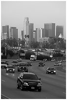 Freeway and skyline, early morning. Los Angeles, California, USA ( black and white)