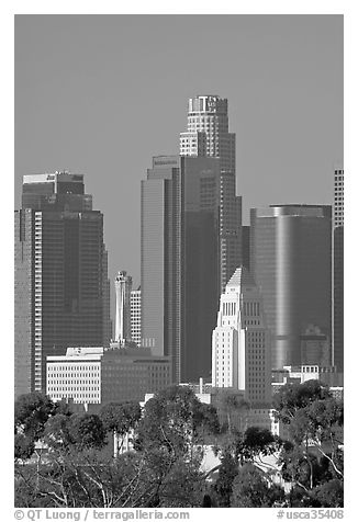 City Hall and high rise buildings. Los Angeles, California, USA (black and white)