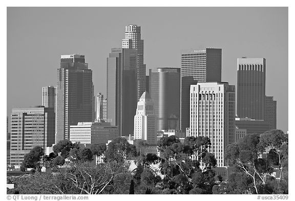 Skyline with city hall. Los Angeles, California, USA (black and white)