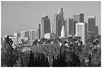 Financial center skyline. Los Angeles, California, USA ( black and white)