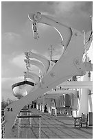 Passenger deck, Queen Mary. Long Beach, Los Angeles, California, USA ( black and white)