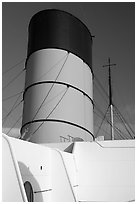 Smokestack, Queen Mary. Long Beach, Los Angeles, California, USA ( black and white)
