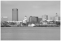 Skyline, late afternoon. Long Beach, Los Angeles, California, USA ( black and white)